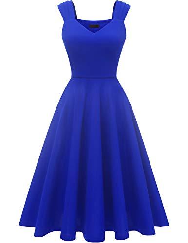 (DRESSTELLS Women's Bridesmaid Vintage Tea Dress V-Neck Prom Party Swing Cocktail Dress RoyalBlue M)