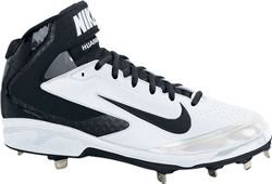 Nike Mens Huarache Pro Mid Metal White/Black Baseball Cleat 11 Men US (Rolling Shoes Nike compare prices)