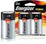 Energizer Alkaline Battery, ''D'' Size, 2/PK (Pack of 2)