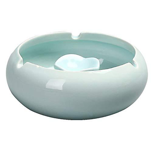 Kinger_Home Handmade Vintage Ceramic Ashtray,Ash Holder for Smokers, Desktop Smoking Ash Tray for Home Office Decoration(TC-1) (Celadon)
