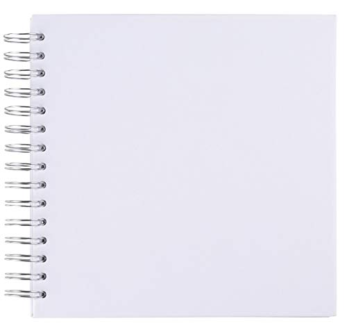 - Blank Wedding Guest Book, Photo Album, Square Spiral Bound Cardboard Cover Sketchbook for Kids DIY Craft, Diary Journal, White, 40 Sheets, 8 x 8 Inches ()