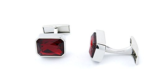 1 Pair Cufflinks Cuff Links UH030 Dark Red Square Crystal Mens Vintage Gift for Tuxedo Shirts Wedding Party (Square Pair Cufflinks)