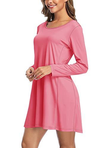 HISKYWIN Women UPF50+ Sun Protection Summer Casual Swing T Shirt Dresses Beach Cover up Dress Rashguards HF10-Pink-XXL