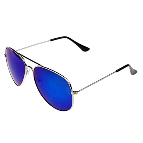 66d3adde418 Silver Frame Blue Mirror Retro Vintage Aviator Mirror Reflective Lens  Unisex Sunglasses Cool Eyewear lovely