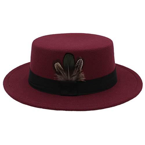 - Winter Autumn Women Flat Fedora Hat for Elegant Lady Wool Pork Pie Boater Sombrero Mujer Hat,Wine red
