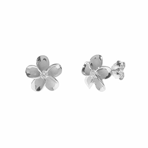 Sterling Silver 10mm Plumeria Rhodium Plated Stud Earrings - Maui Jean Sunglasses