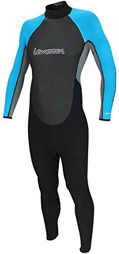 Lemorecn Wetsuits Mens Neoprene 3/2mm Full Suit(3032bluegrey-M)