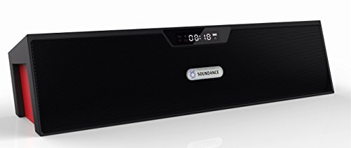 Soundance Portable Stereo Bluetooth Speakers with Enhanced Bass Resonator, FM Radio, Built-in Mic, LED Display, Alarm clock, 3.5 mm Audio Jack, support TF card/Micro SD card and USB input, up to 35ft Bluetooth Range, up to 8 Hours Playtime, support MP3,