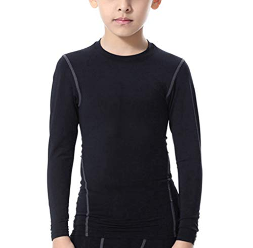 - LANBAOSI Boys&Girls Long Sleeve Compression Soccer Practice T-Shirt Black
