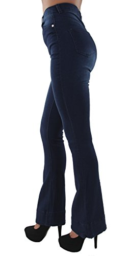 (Women's Juniors Bell Bottom High Waist Bootcut Fitted Premium Flared Bootleg Jeans in Dark Blue Size 11 )