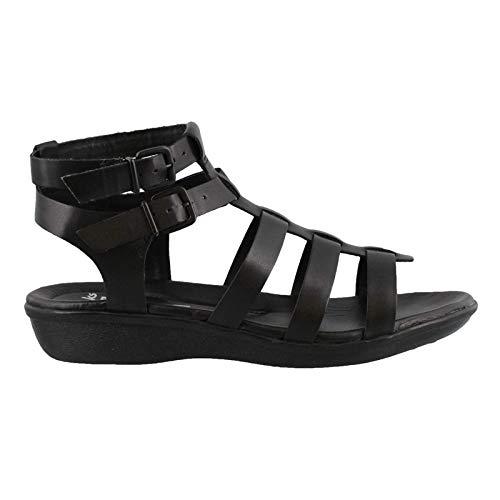 CLARKS Women's Manilla Parham Gladiator Sandal, Black Leather, 8 M - Gladiator Sandals Flat Strap