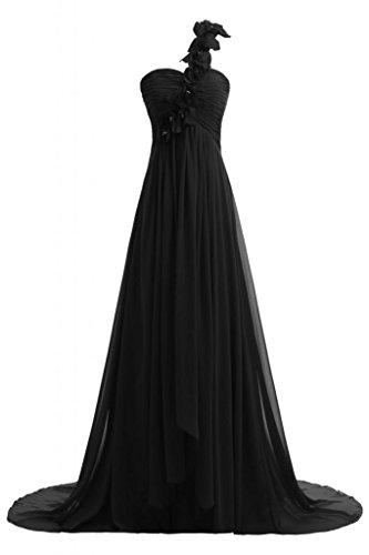 Chiffon Vestito spalla A Sunvary Fashion Black da una sera lungo in Line OASSqfWY