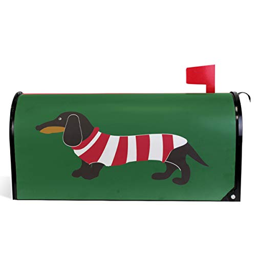 Wamika Dachshund Dog Wear Stripes Clothing On Green Background Mailbox Covers Standard Size Cute Dog and Puppy Magnetic Mail Cover Letter Post Box 21