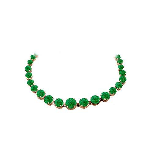 Emerald Graduated Necklace in 14K Rose Gold Vermeil