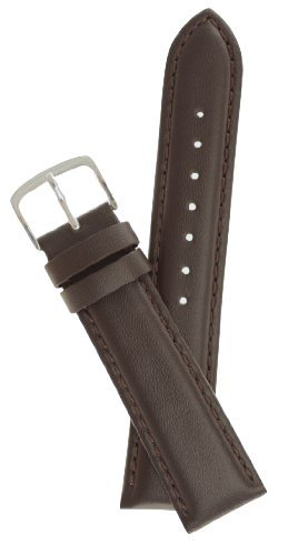 Mens Padded Genuine Leather Watchband Brown Long Length 18mm Watch Band - by JP Leatherworks