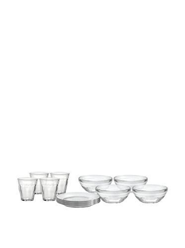 Duralex Made In France Kids 12-pc Glass Set. Set Includes (4) 4 -5/8 oz. Picardie Glasses,( 4) 7-1/2 inch Lys Plates & (4) 4-3/4 inch Lys Bowls