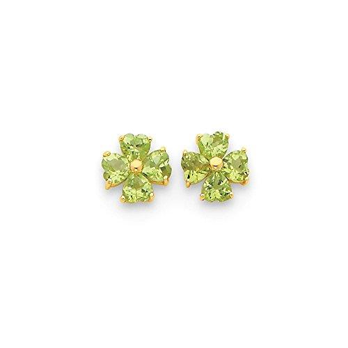 - 14k Yellow Gold Heart-shaped Peridot Flower Post Earrings