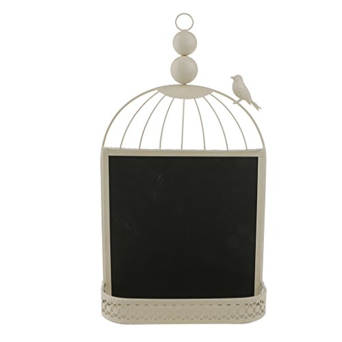 MagiDeal Retro Bird Cage White Black Message Board Blackboard Chalkboard Wedding Décor - White, 49 x 28 x 8cm
