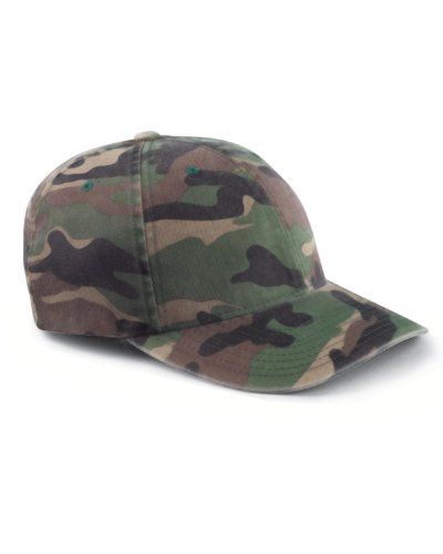 Flexfit Yupoong Cotton Camouflage Cap, Green CAMO, Large/X-Large ()
