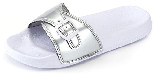 Mio Marino Adjustable Slides for Women - Beach Sandals - House Slippers