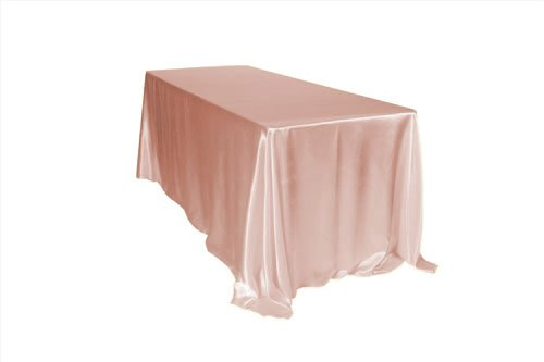 Your Chair Covers - 90 x 156 inch Rectangular Satin Tablecloth Blush, Rectangle Shiny Satin Table Linens for 8 ft Rectangular Tables (Linen Tablecloth Chair Cover)