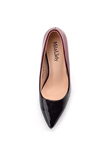 Pumps Heel Color Dress Stilettos Mila Shoes Toe Women Contrast Lady Pointed Rd Burgundy BONNIE08 Patent ZP8Zv