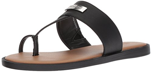 - Kenneth Cole REACTION Women's Scroll in Flat Sandal with Toe Ring Black, 6.5 M US