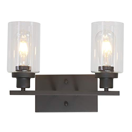 MELUCEE 2-Light Industrial Bathroom Lighting Oil Rubbed Bronze with Clear Glass Shade, Porch Light Fixtures Wall Mount Sconces for Bedroom Living Room Kitchen