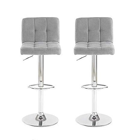 Prime Neo Pair 2X Cuban Chrome Gas Lift Swivel Fabric Kitchen Breakfast Bar Stool Grey Dailytribune Chair Design For Home Dailytribuneorg