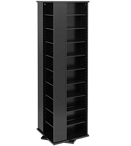 (Prepac Large Four-Sided Spinning Tower Storage Cabinet, Black)