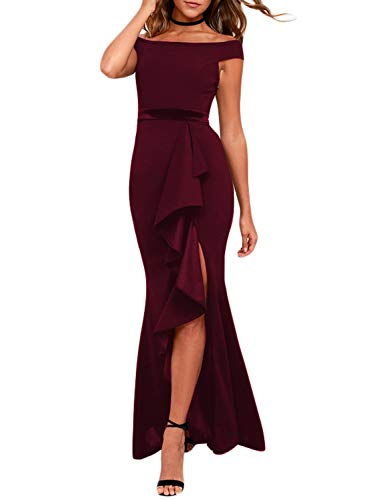 (Arainlo Ladies Elegant Split Side Ruffle Evening Dress Velvet Belt Long Dress Formal Off The Shoulder Bandage Pencil Maxi Dresses Red S )