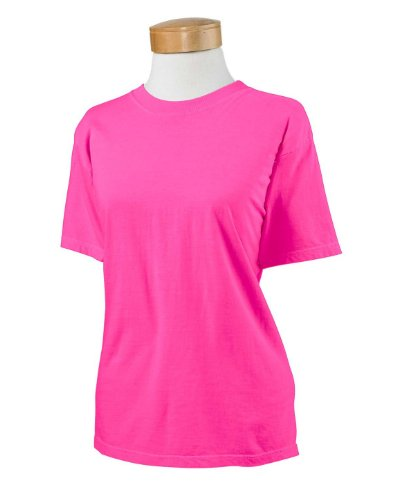 (Authentic Pigment Ladies Direct-Dyed Ringspun T-Shirt 1969Y -NEON PINK L)