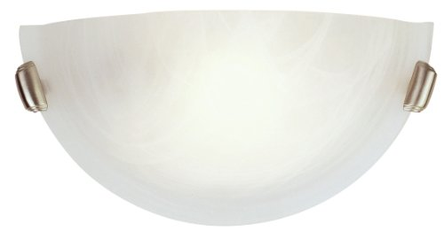 Livex Lighting 4271-91 Home Basics 1 Light Brushed Nickel Wall Sconce with White Alabaster Glass from Livex Lighting