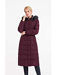 Women's Vegan Down Puffer Hooded Jacket,Full Long Thickened Winter Coat with Faux Fur,Classic Warm Parka for Ski