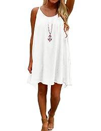 Women's Summer Casual Sundress Chiffon Sleeveless Tank Dress Beach Cover up