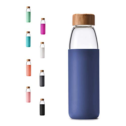 Veegoal Diswasher Safe 18 Oz Borosilicate Glass Water Bottle with Bamboo Lid and Protective Sleeve-Bpa Free (Sapphire Blue)