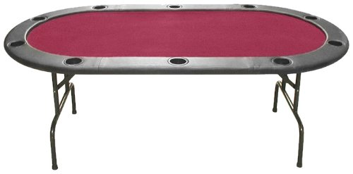 Trademark 10-HT1RD Poker Full Size Texas Hold'em 83 X 44-Inch Poker Table (Burgundy Felt)
