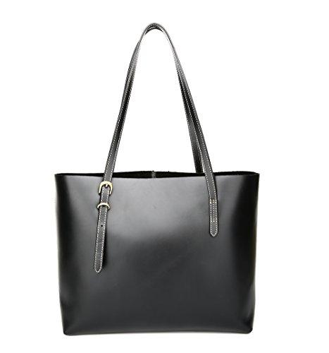 Jslove Women's Top Layer Cowhide Handbag Classic Horizontal Tote