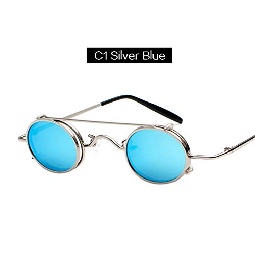 Retro Steampunk Sunglasses Men Women Small Size Oval Metal Punk Sun Glasses Double Lens Clip On Glasses (Jessica Oval Mirror)