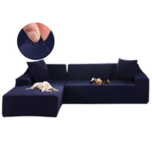 (Obokidly 2 Pieces Covers for L Shape Sofa Jacquard Stretch Elastic Corner Sofa Cover Living Room Chaise Lounge Couch Covers Sectional (Navy, L Sectional Sofa))