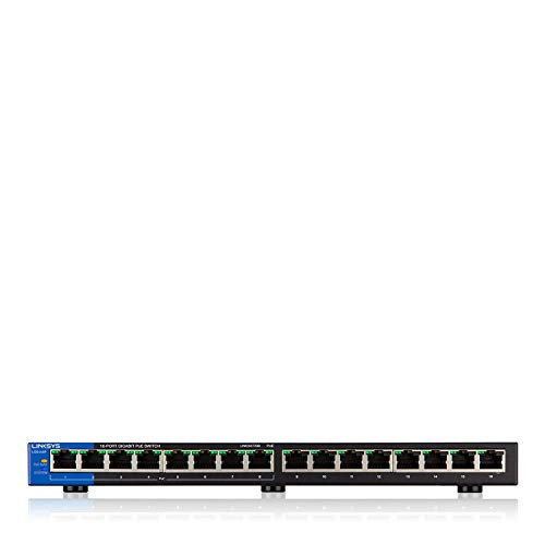 Linksys Business LGS116P-RM2 16-Port Desktop Gigabit Ethernet PoE+ Unmanaged Network Switch I Metal Enclosure (Certified Referbished) by Linksys (Image #2)