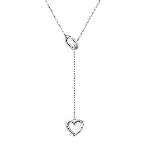 (LINLIN FINE JEWELRY Long Necklace 925 Sterling Silver Adjustable Oval Heart Y Shaped Lariat Necklace for Women Girls, 20 + 2)
