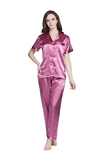 TONY AND CANDICE Women's Pajama Set, Short Sleeve Satin Sleepwear (Burgundy, M) ()