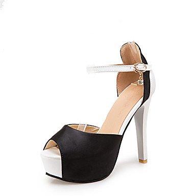 LvYuan Mujer-Tacón Stiletto-Confort Tira en el Tobillo Zapatos del club-Sandalias-Boda Vestido Fiesta y Noche-Seda PU-Negro Rojo Blanco Red
