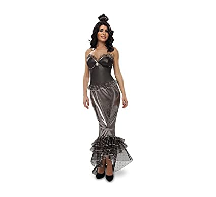 Disfrazzes - Disfraz de sirena negro - plata talla m-l: Amazon.es ...
