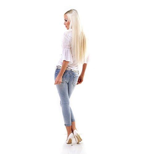 Leicht transparente Bluse mit Volant-Verzierung in weiß