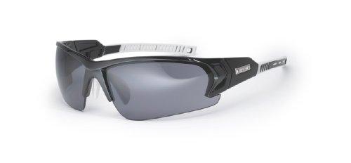 BLOC EYEWEAR BRONX SHINY BLACK/WHITE SPORT SUNGLASSES (SG12 GREY GRADUATED CAT 3 - Graduated Lenses Sunglasses