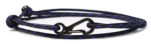 WUE Mens Bracelet Handmade with Paracord Rope and Steel Carabiner Adjutable Knots - Made in USA (Jedi)