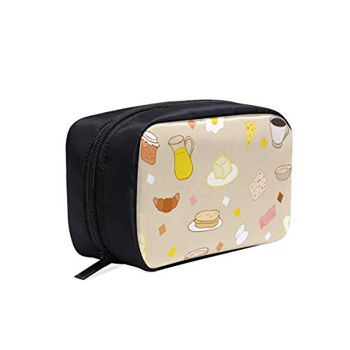 (Tea And Sweets In Doodle Style Portable Travel Makeup Cosmetic Bags Organizer Multifunction Case Small Toiletry Bags For Women And Men Brushes Case)