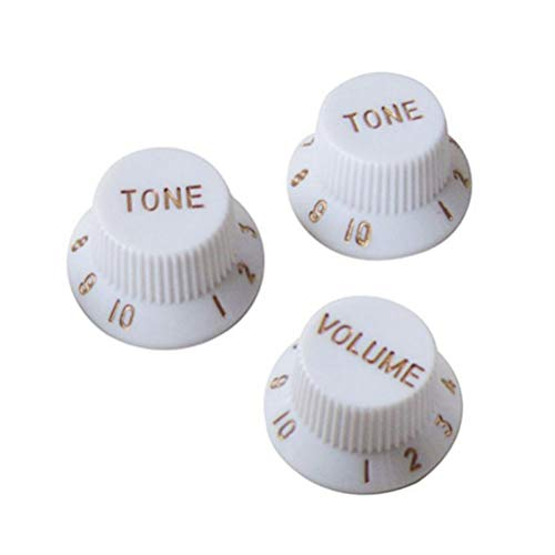 Healifty 3PCS Plastic Top Hat Guitar Volume Tone Control Knobs Rotary Knobs for Fender Strat ST Stratocaster Telecaster Electric Guitar Parts (White)